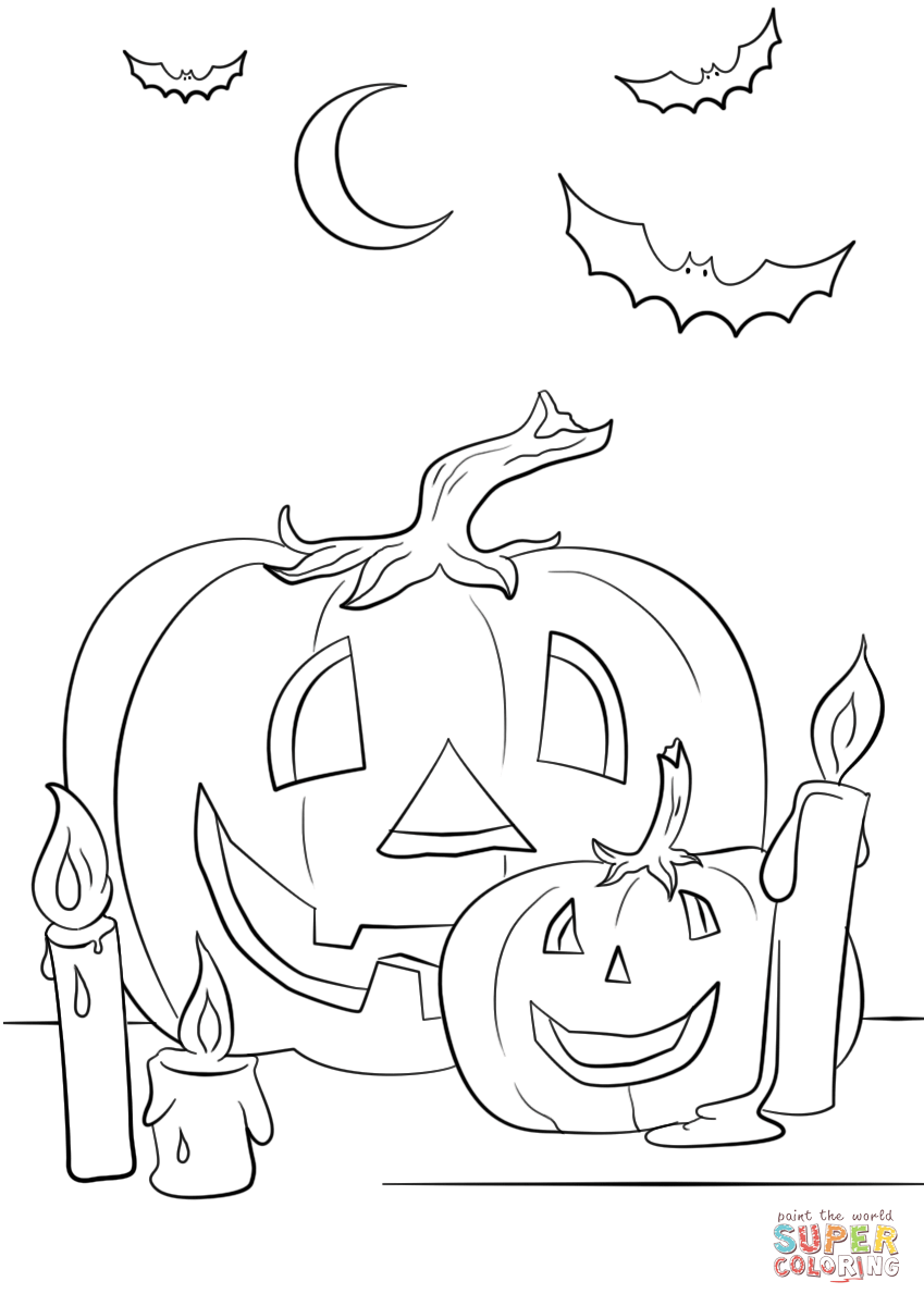 Halloween Scene With Pumpkins Candles And Bats Coloring Auto Pumpkin Wiring Diagram