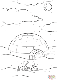 Inuit Sitting by a Bonfire in Front of Igloo coloring page ...