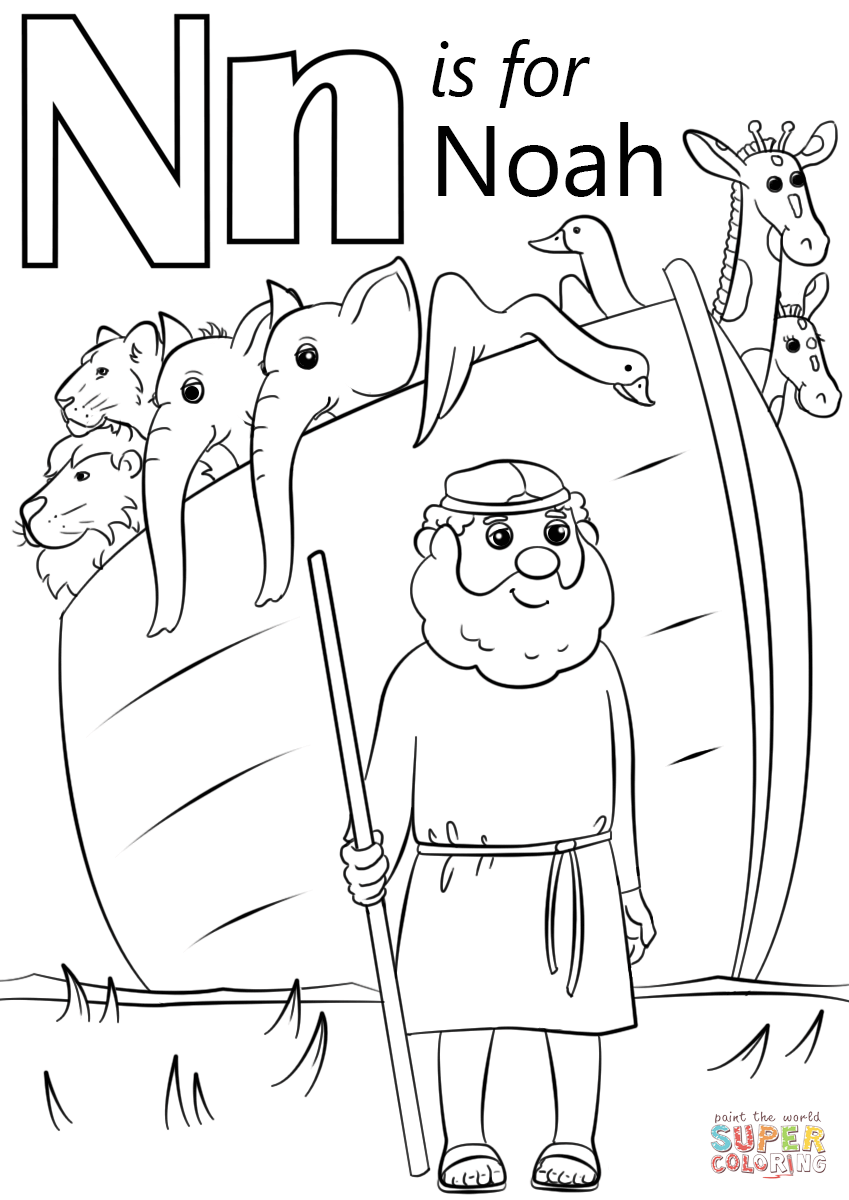 Free coloring pages preschool letter n -  Letter N Is For Noah Coloring Pages Download
