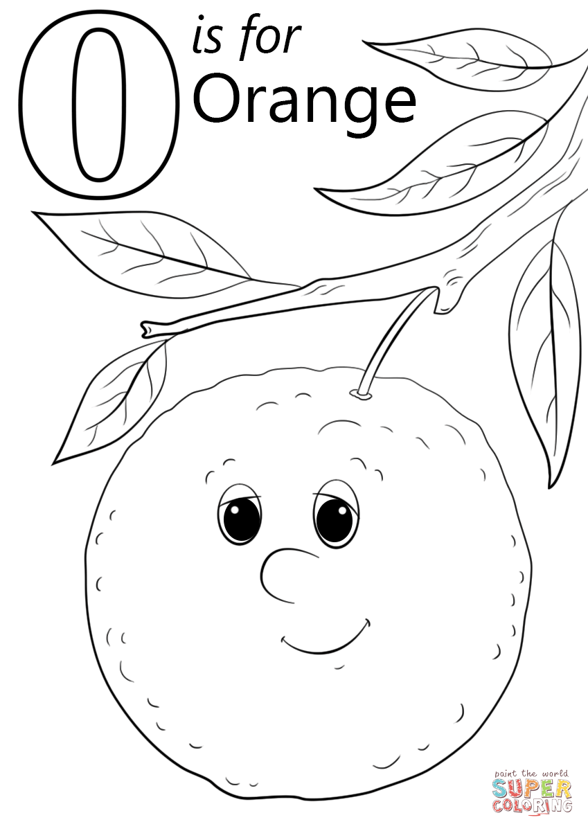 Click the letter o is for orange coloring pages