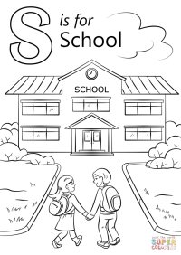 Letter S is for School coloring page | Free Printable ...