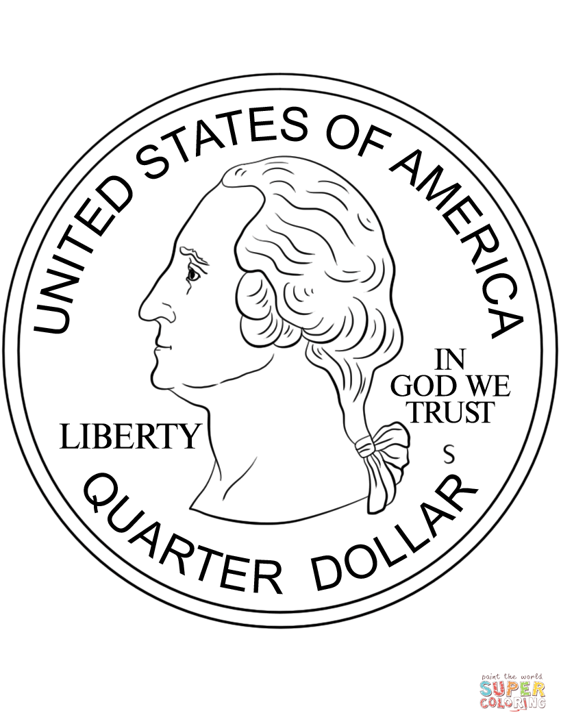 Click the quarter coin coloring pages to view printable version or color it online compatible with ipad and android tablets