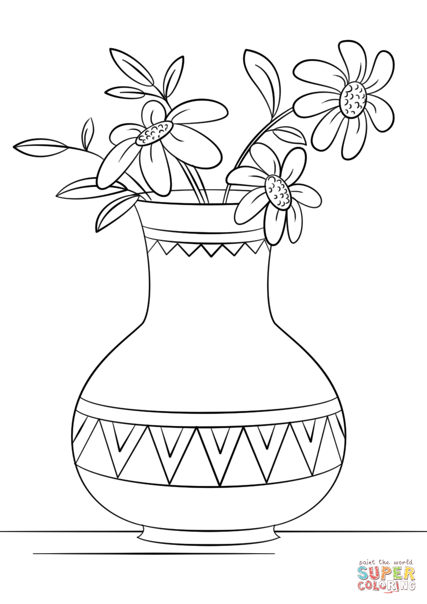 Free coloring pages vases - Download Click The Vase Of Flowers Coloring Pages