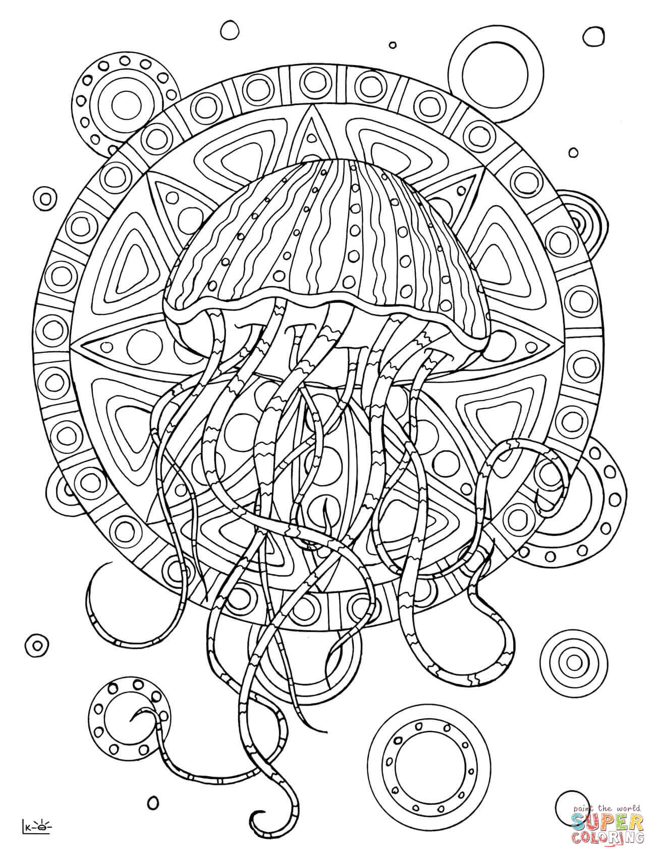 Big j coloring pages - Big J Coloring Pages Jellyfish With Tribal Pattern Coloring Page Free Printable Download
