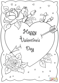Happy Valentine's Day Card coloring page | Free Printable ...
