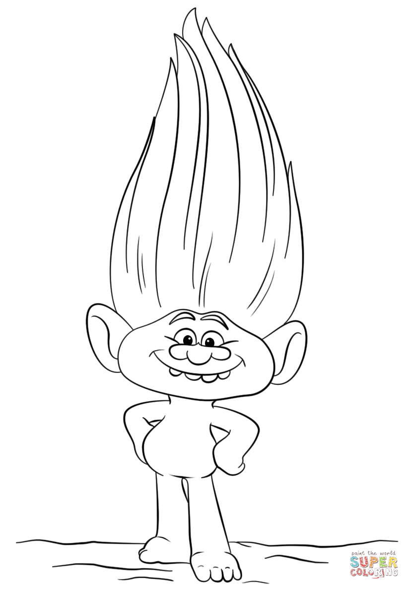 dreamworks trolls guy diamond coloring pages to print