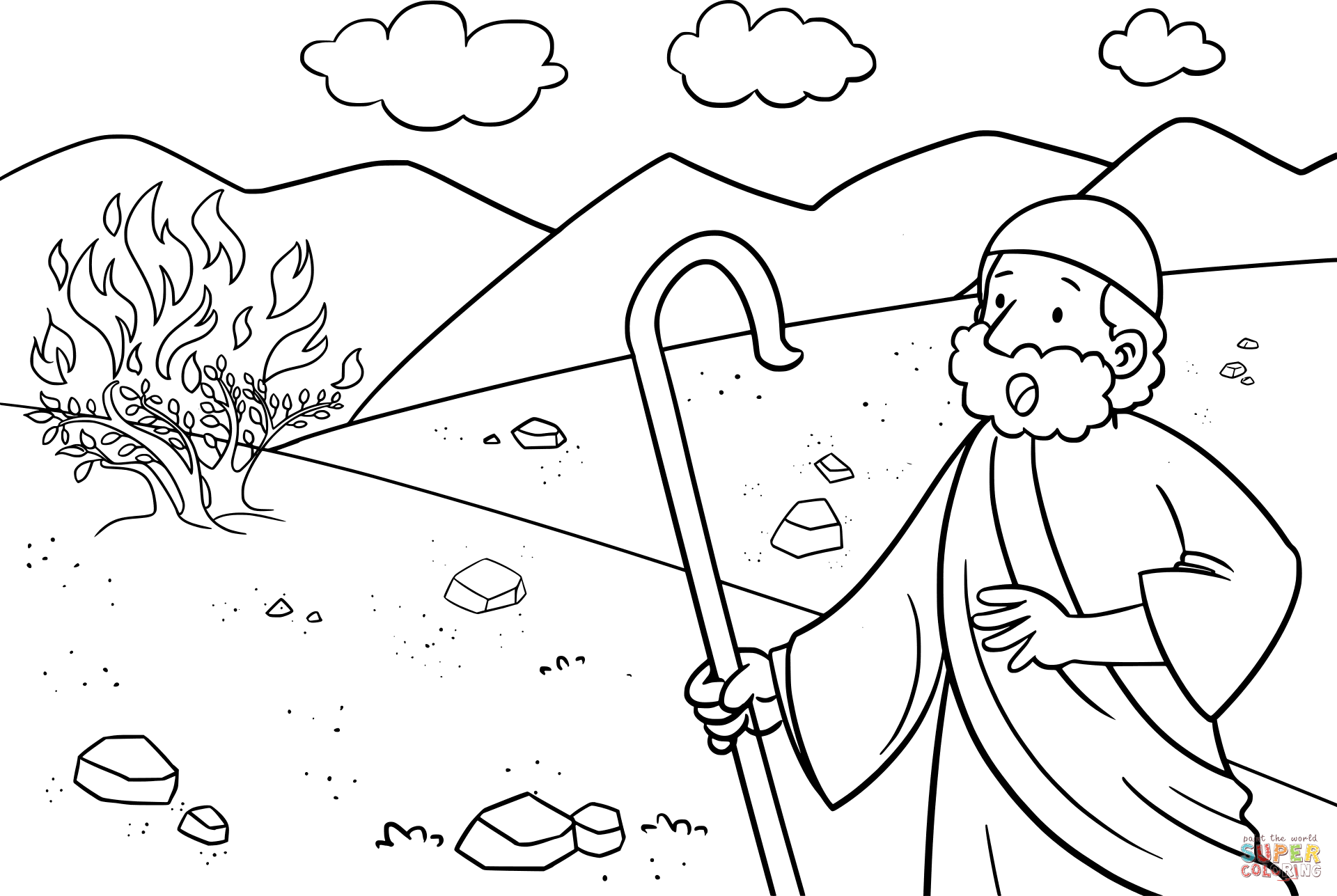 Click the moses the burning bush coloring pages to view printable version or color it online compatible with ipad and android tablets