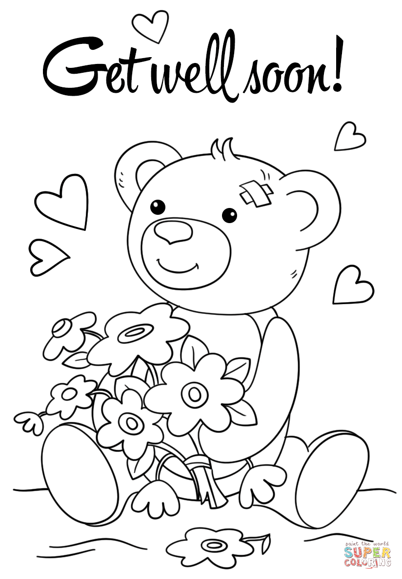 Click the cute get well soon coloring pages to view printable version or color it online compatible with ipad and android tablets