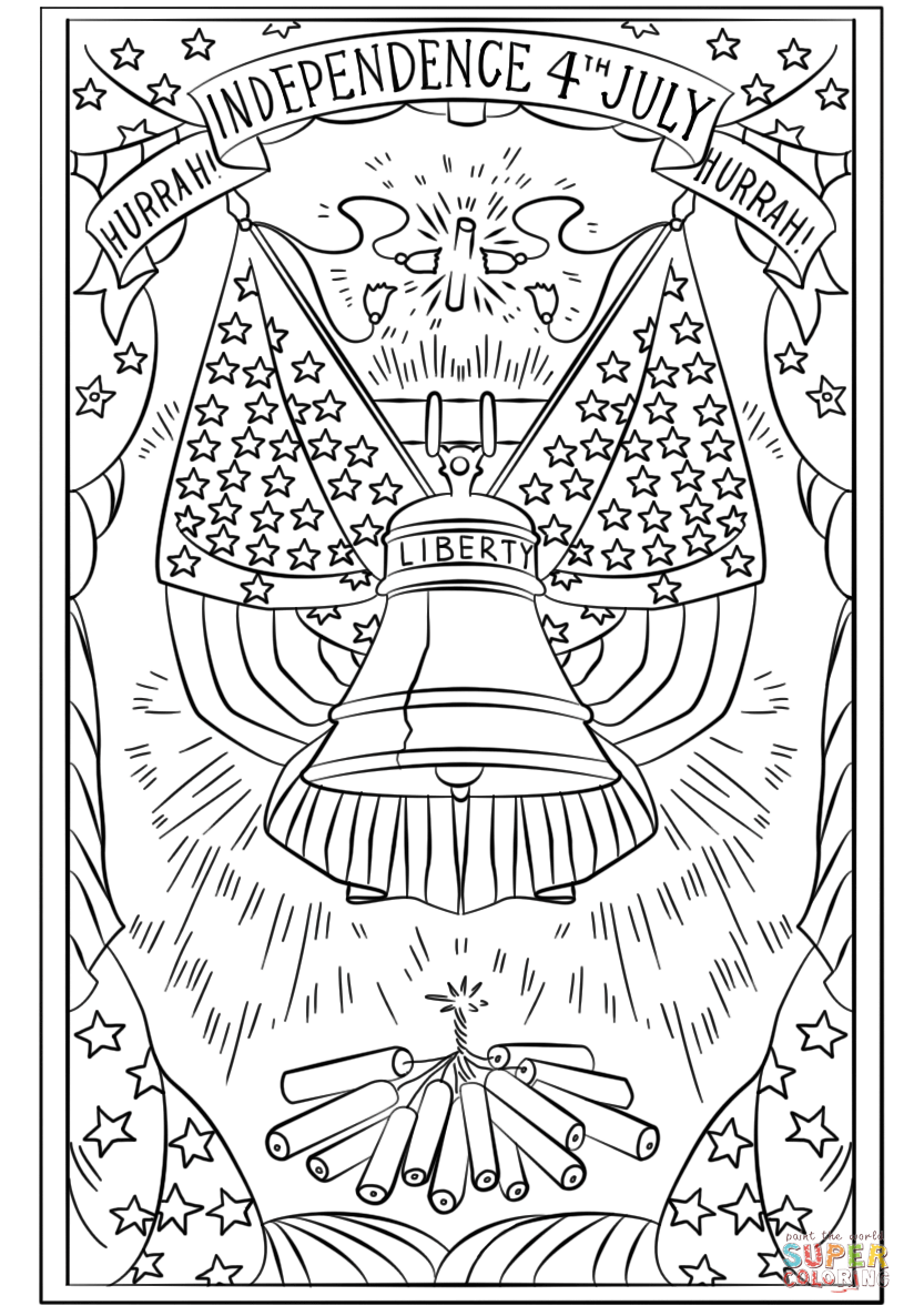 Independence 4th july postcard coloring pages