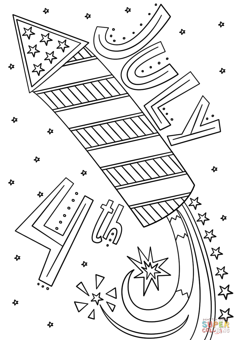 Printable coloring pages july 4 - Printable Coloring Pages July 4th Click The Fourth Of July Fireworks Doodle Coloring Pages To Download