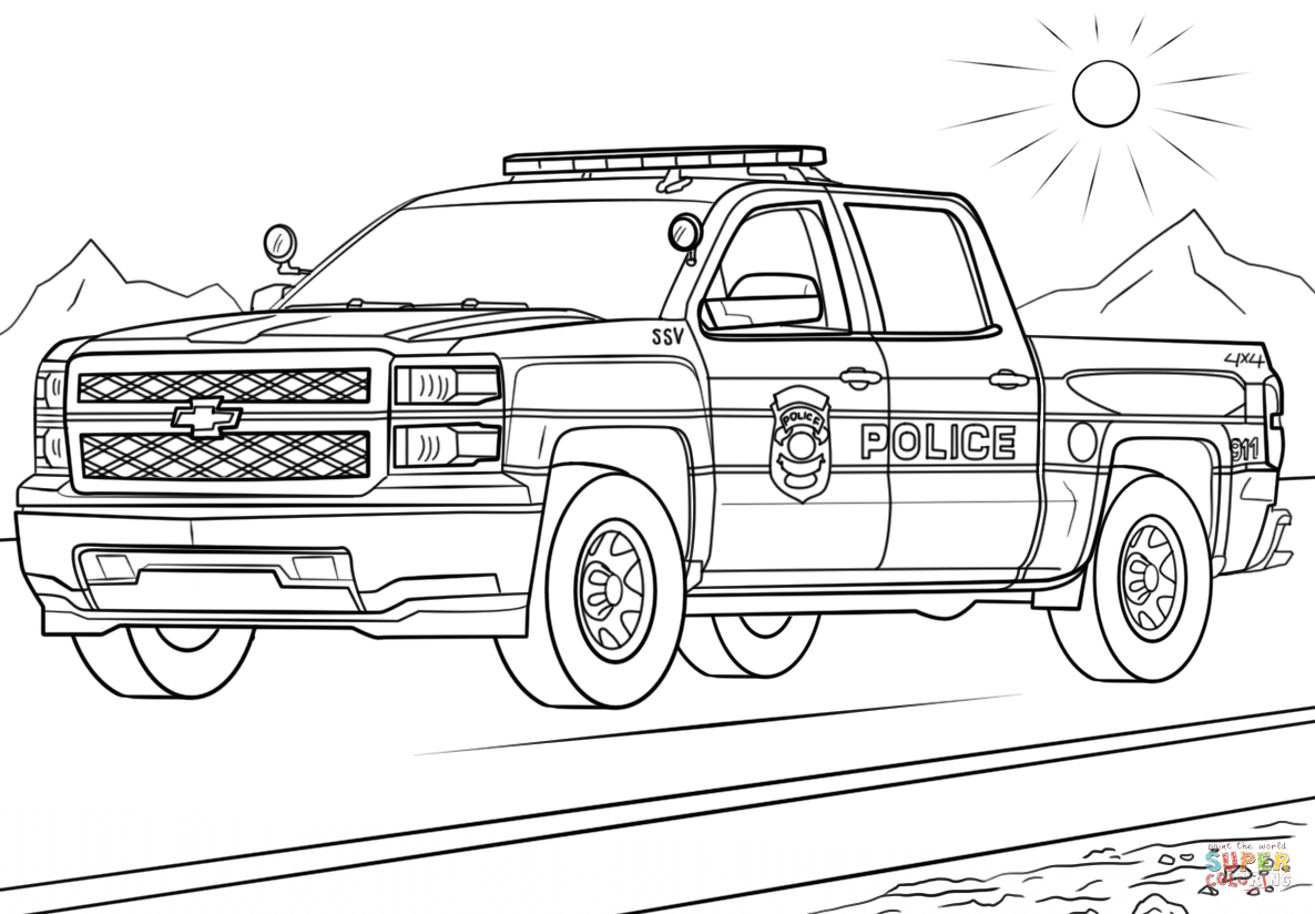 Click the police truck coloring pages to view printable version or color it online compatible with ipad and android tablets