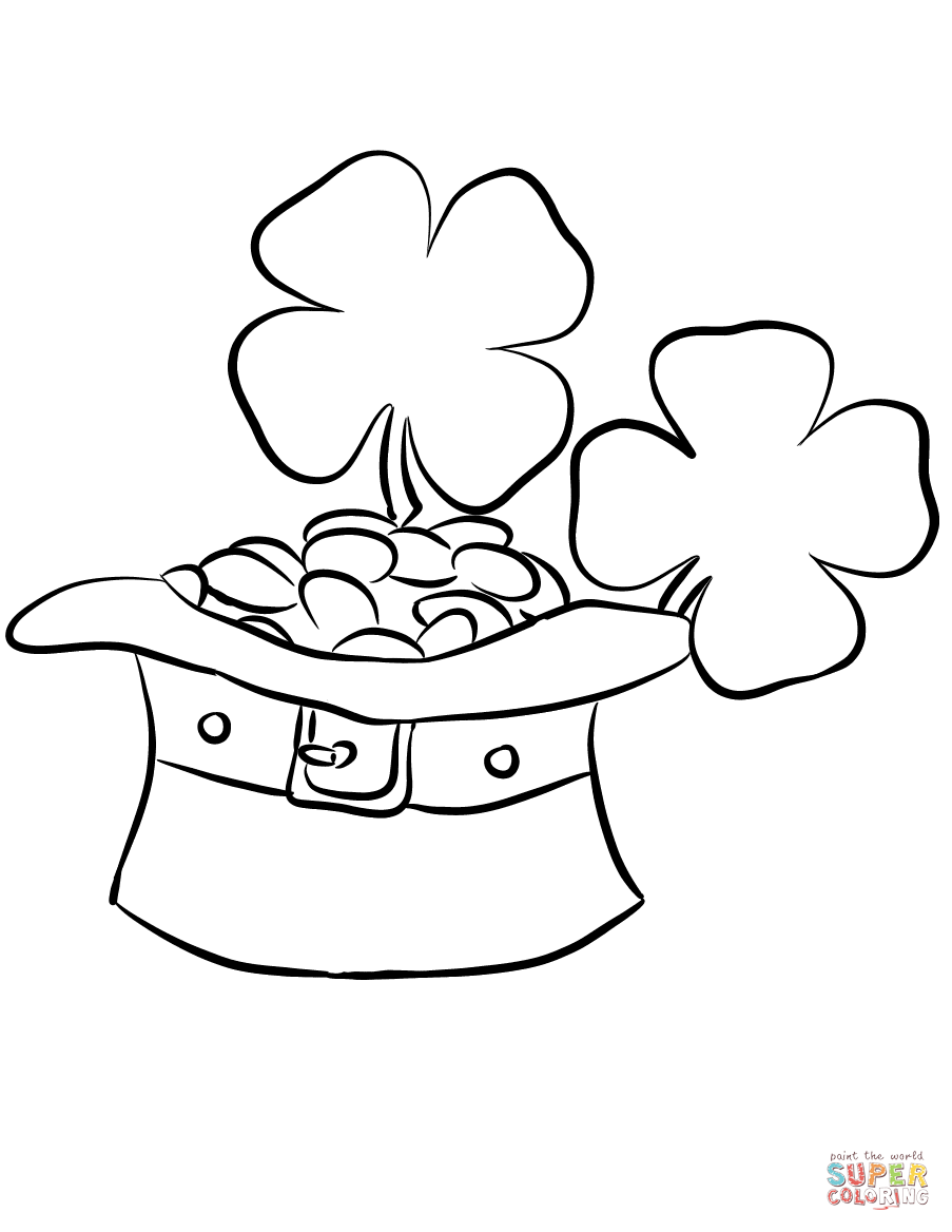 Leprechaun Hat And Gold Coins Coloring Page