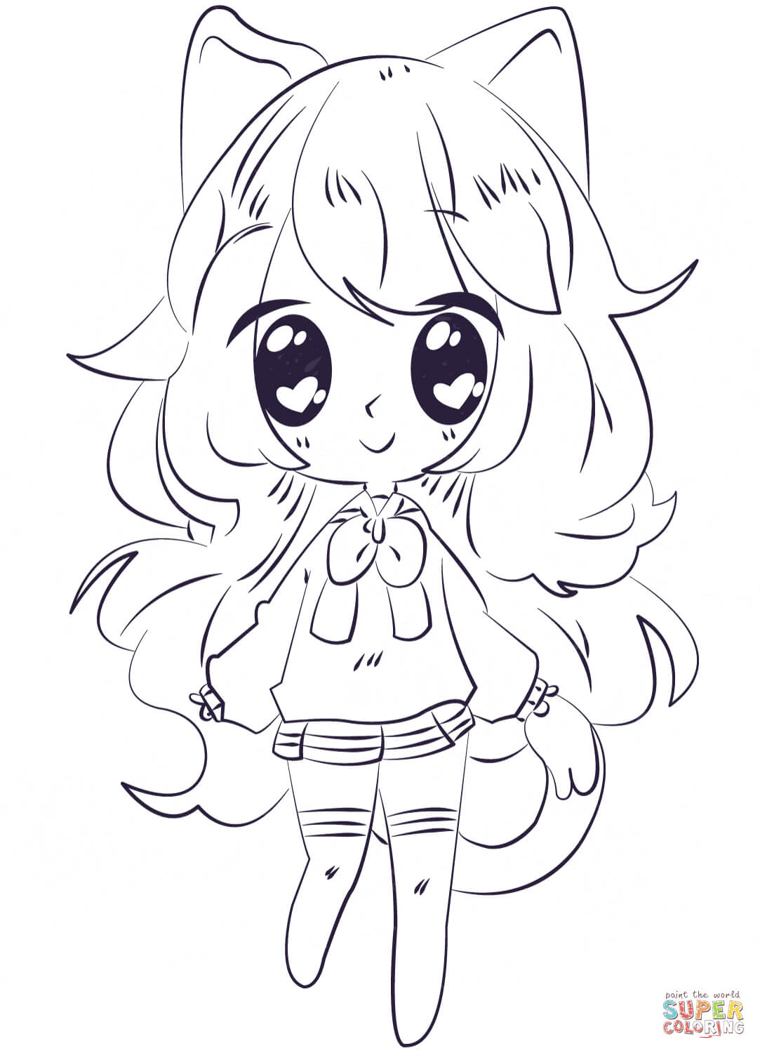 Kawaii Girl Coloring Pages Arenda Stroy