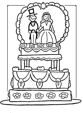 Wedding Cake coloring page Free Printable Coloring Pages