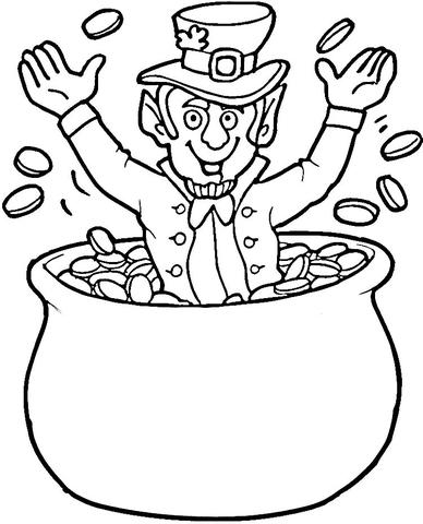 Dibujo de Leprechaun en un bote de monedas de oro para colorear