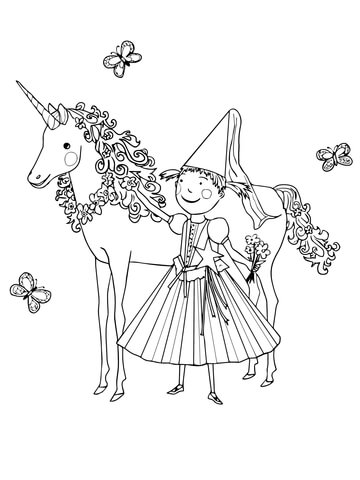 Pinkalicious with Unicorn coloring page Free Printable Coloring Pages