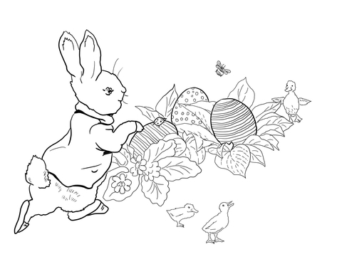 Peter Rabbit Easter Egg Hunt coloring page Free Printable Coloring