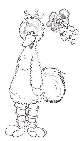 Abby Cadabby and Big Bird coloring page Free Printable Coloring Pages