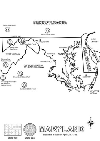 Maryland State Map coloring page Free Printable Coloring Pages