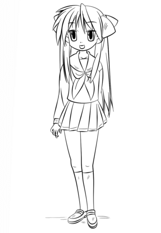 Cute Japanese Cartoon Characters Wallpaper Kagami Hiiragi Coloring Page Free Printable Coloring Pages