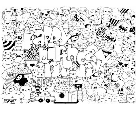 Psychedelic Girl Wallpaper Ausmalbild Alles Gute Zum Geburtstag Gekritzel