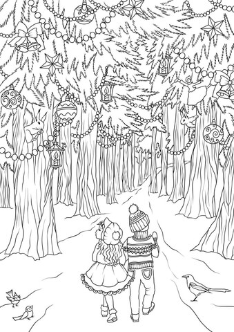 A Girl and a Boy are Walking in the Christmas Forest coloring page