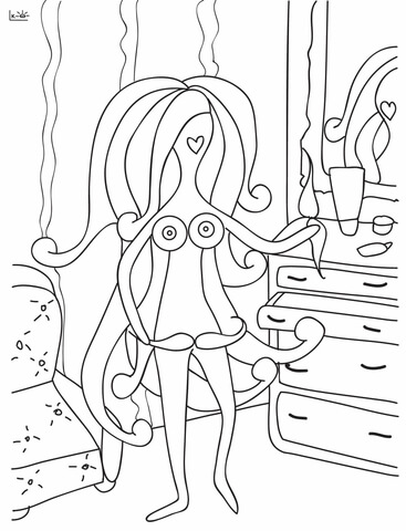Lady With Mustache Coloring Page