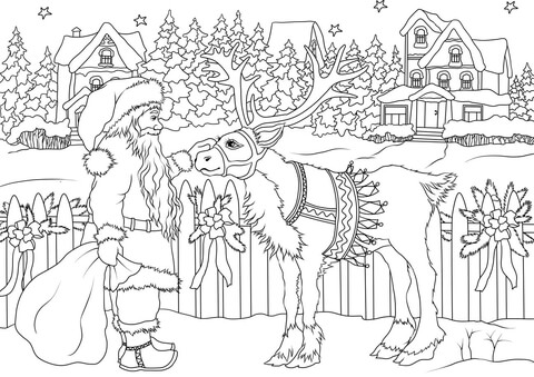 Vintage Santa Claus with His Christmas Deer coloring page Free