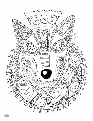 Wolf with Tribal Pattern coloring page Free Printable Coloring Pages