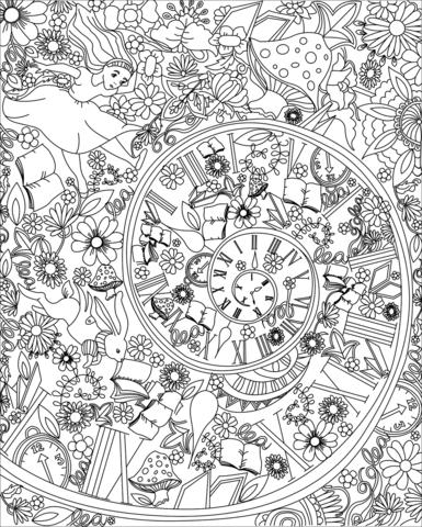 Falling Down The Rabbit Hole Wallpaper Alice Falling Down The Rabbit Hole Coloring Page Free