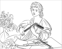 The Lute Player by Caravaggio coloring page | Free ...