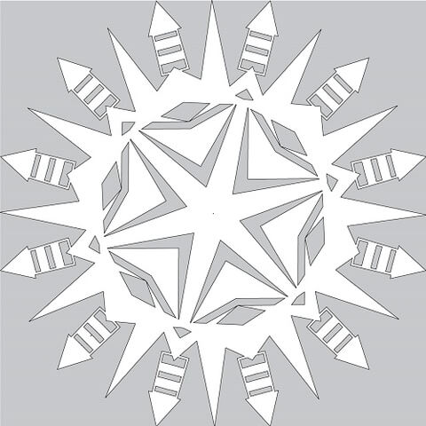 How to Make Paper Snowflake with Firework Rocket Tutorial Template