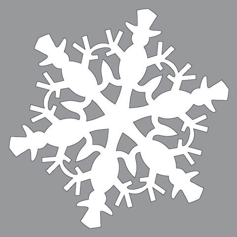 Paper Snowflake Pattern with Snowman Cut out Template Free