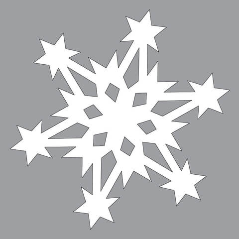 Paper Snowflake Pattern with Stars Cut out Template Free Printable