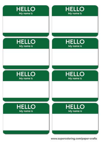 Green Name Badges Printable Template Free Printable Papercraft - name badge templates