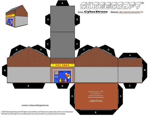 Toy Shop Building Paper Template Free Printable Papercraft Templates