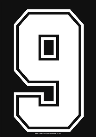 White Football Shirt Number 9 Template Free Printable Papercraft