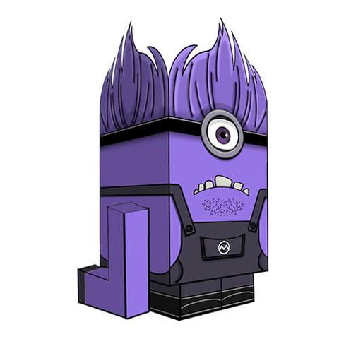 Evil Purple Minion Paper Toy Free Printable Papercraft Templates