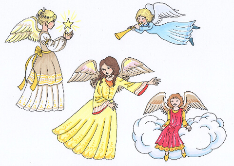 Hand Drawn Angels Printable Stickers Free Printable Papercraft - angels templates free
