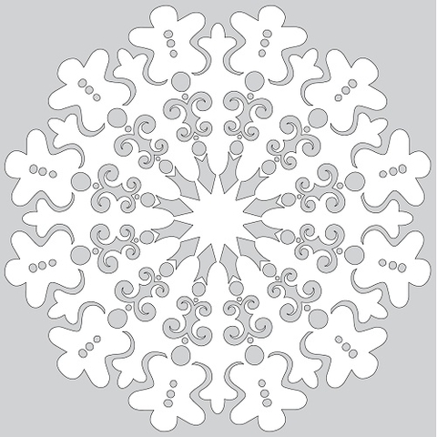 How to Make Paper Snowflake with Gingerbread Man Tutorial Template
