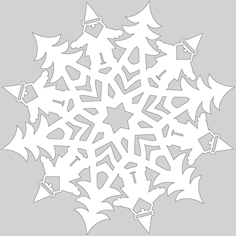 How to Make Paper Snowflake with Santa Claus Tutorial Template