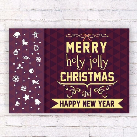 Merry Holy Jolly Christmas and Happy New Year Wall Poster Template - new year poster template