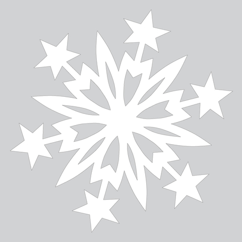 Paper Snowflake Pattern with Christmas Stars Cut out Template Free