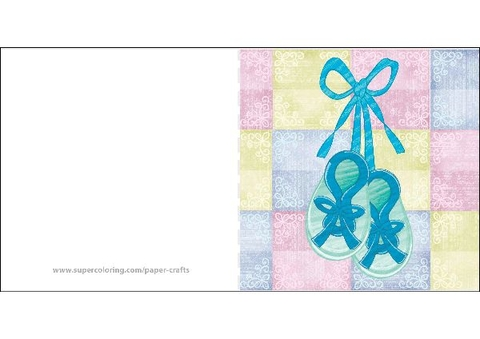 Baby Shower Card with Two Little Shoes Free Printable Papercraft