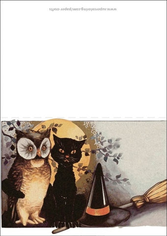 Halloween Background Greeting Card with Black Cat Owl and Witch Hat
