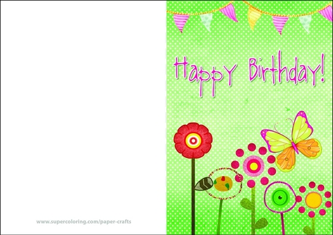 Happy Birthday Card with Flowers and Bunting Flags Free Printable