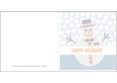Happy Holidays with Snowman Greeting Card Template Free Printable