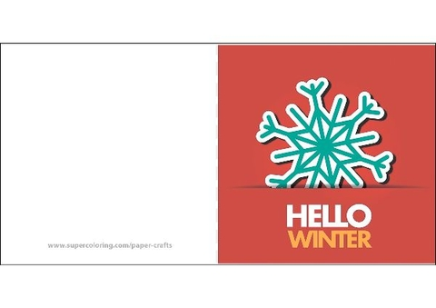 Hello Winter Greeting Card Template Free Printable Papercraft