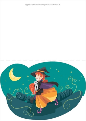 Smiling Witch with a Cat at Night Greeting Card Free Printable
