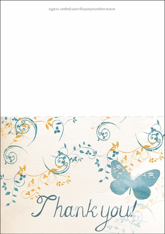 Thank You Card with Butterfly Free Printable Papercraft Templates - butterfly thank you cards